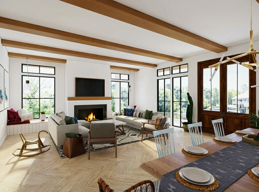 Modern Rustic Living Room with Fireplace