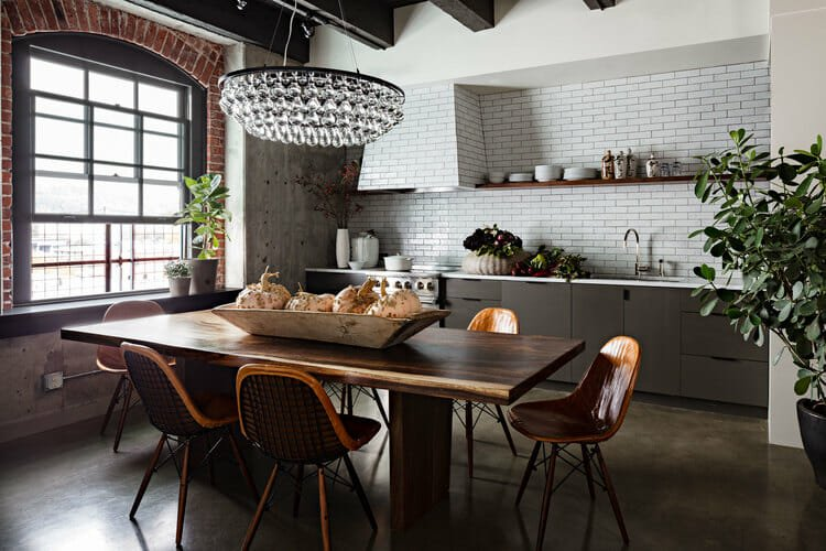 New York Loft Decorating Style dining room and kitchen
