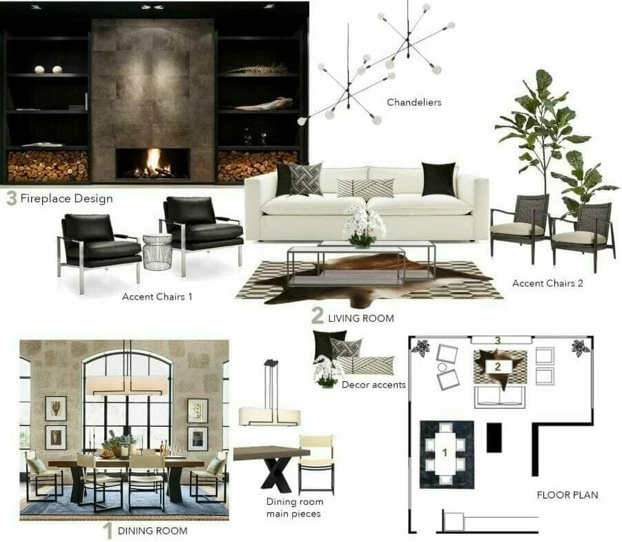 Online concept board from online interior design services