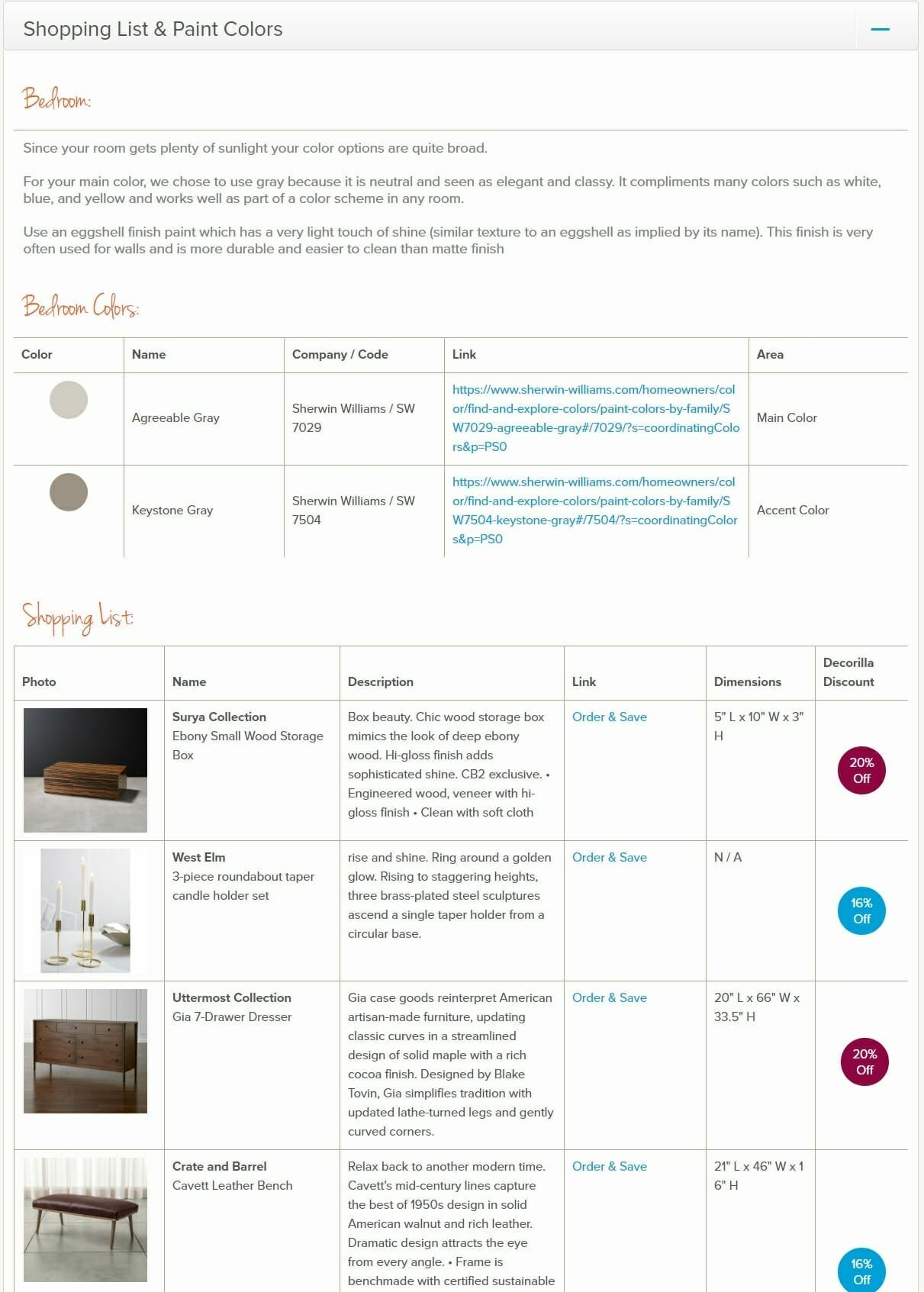 Online interior design service - Decorilla shopping list