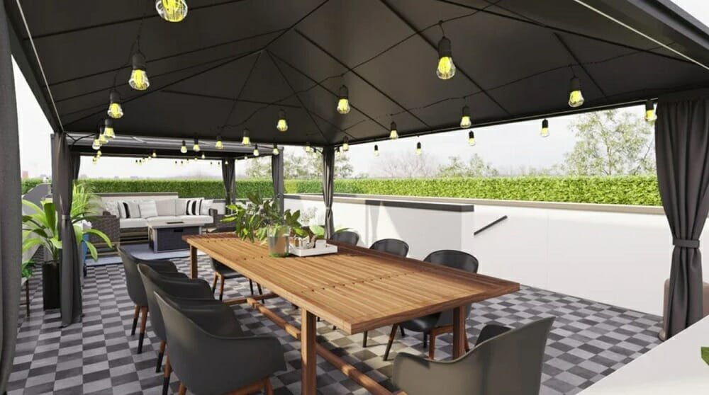 Outdoor dining area created for an online patio design