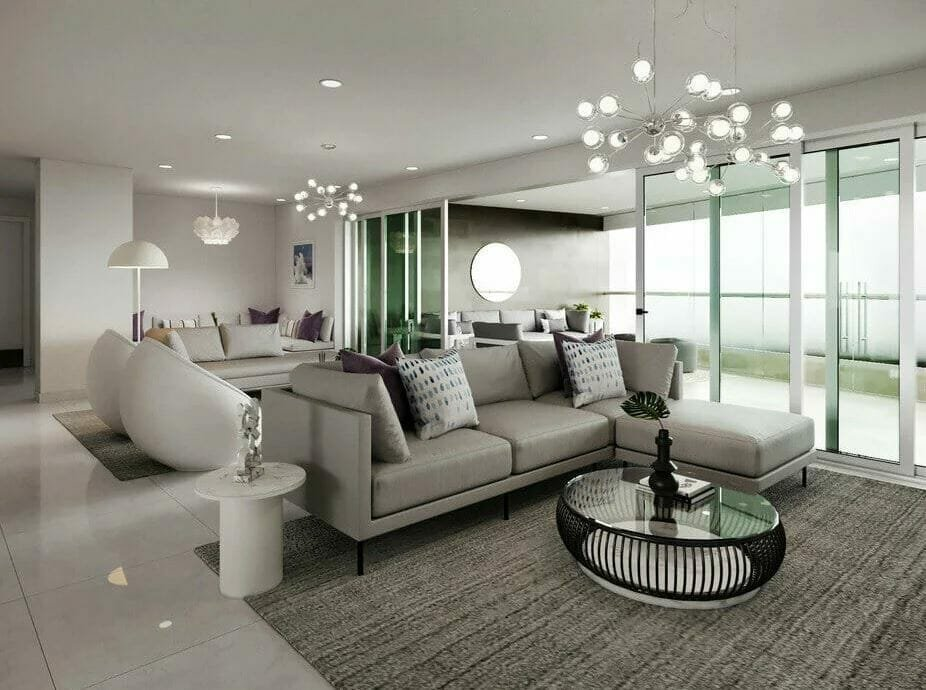 Photorealistic rendering of a glamorous living room created by an online interior designer