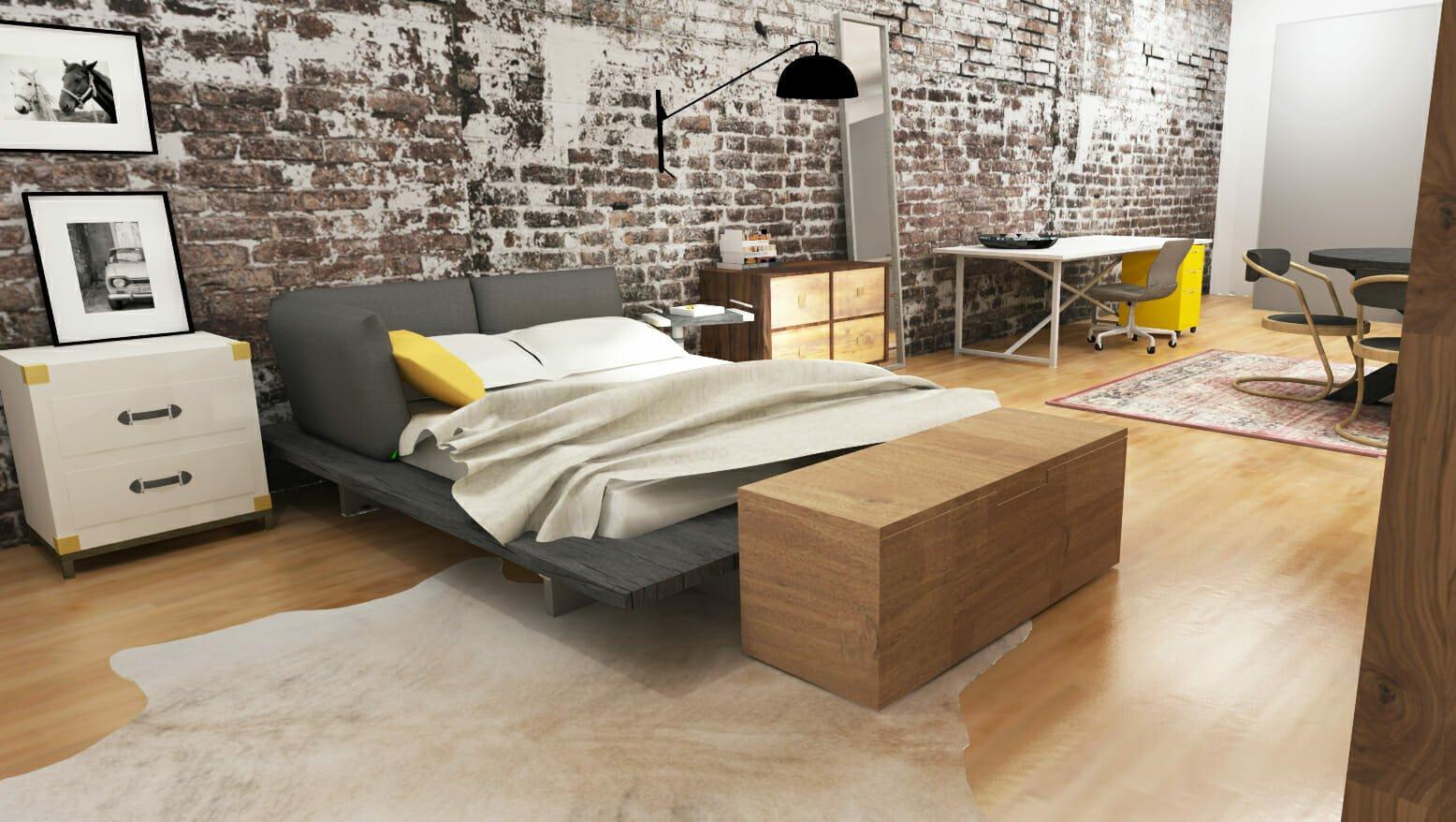 Studio NYC loft interior design with exposed brick walls