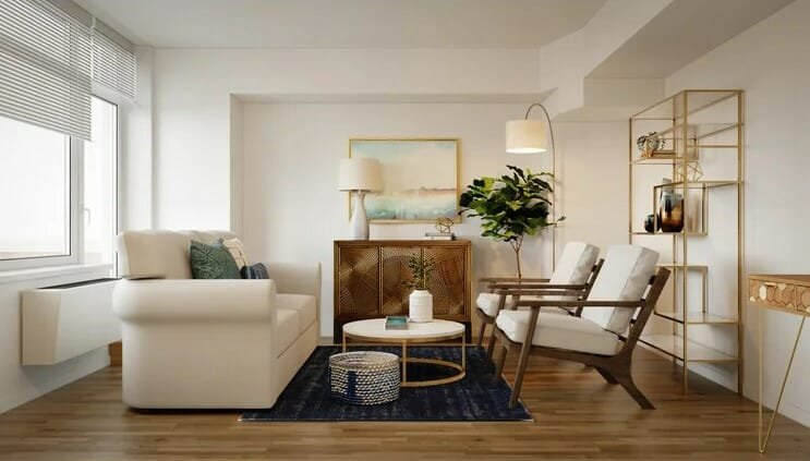 Symmetrical furniture layout in a 3D rendering of a glam contemporary lounge