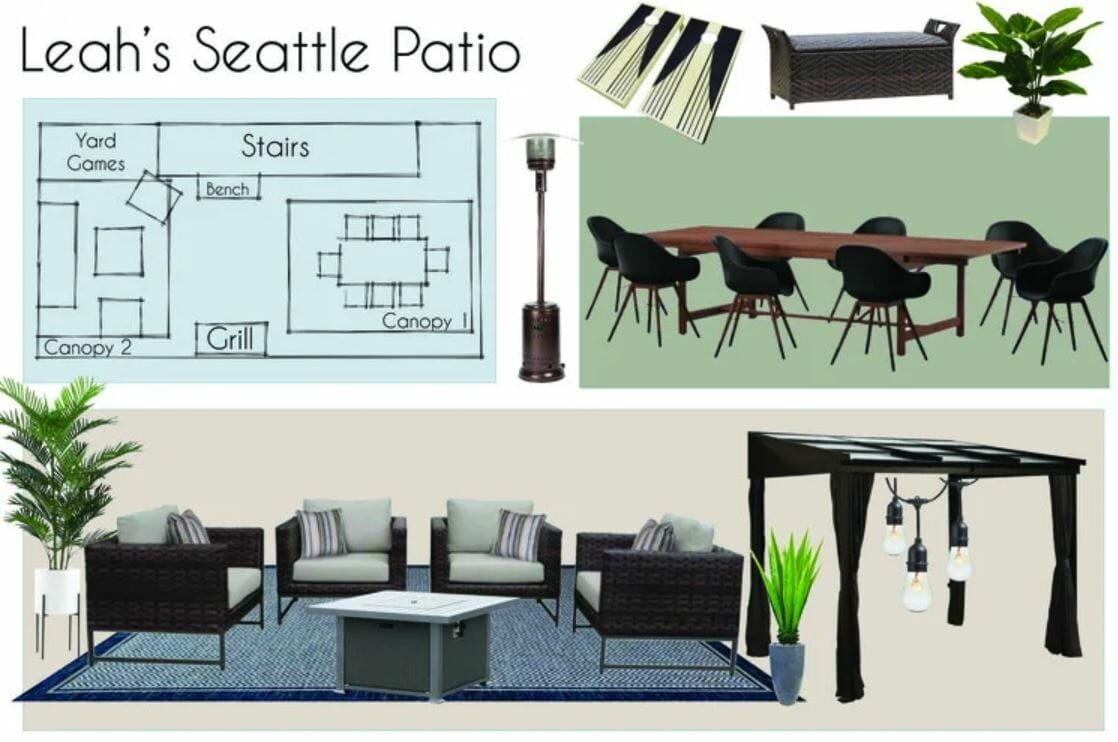 The rooftop patio design's online mood board