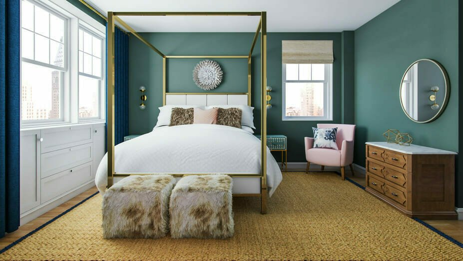 A green contemporary bedroom finished by an interior design stylist