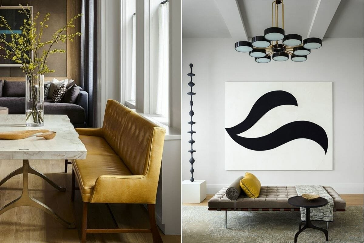 Beautiful furniture in one of the popular mid-century modern interior design styles