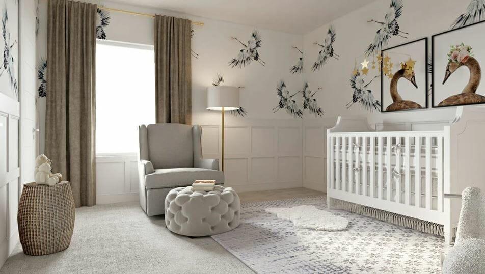 Beautiful neutral nursery by an interior design stylist near me