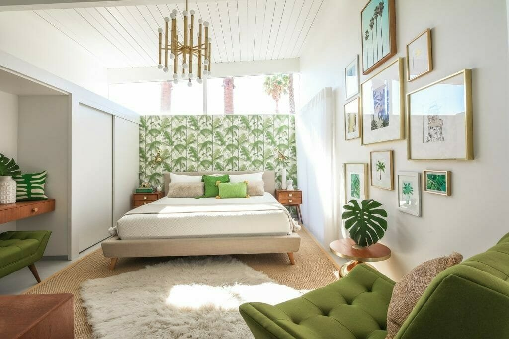 Botanical-inspired bedroom with retro furniture in a mid-century modern interior design