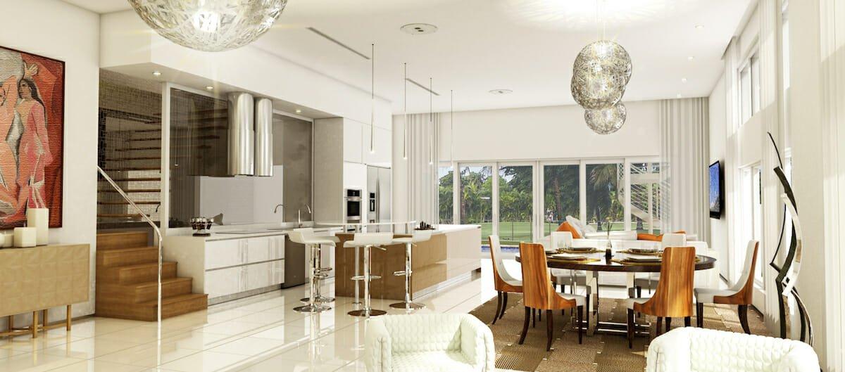 Bright white contemporary house interior design