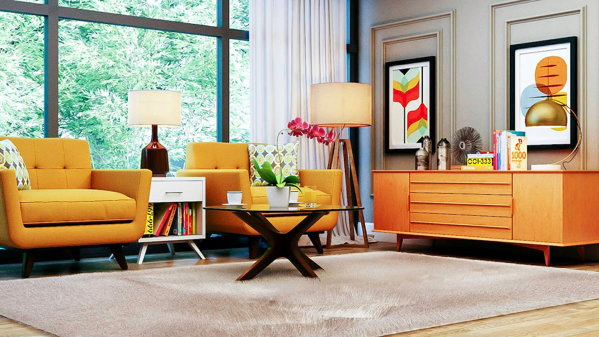 Colorful Mid Century Interior Design Living Room