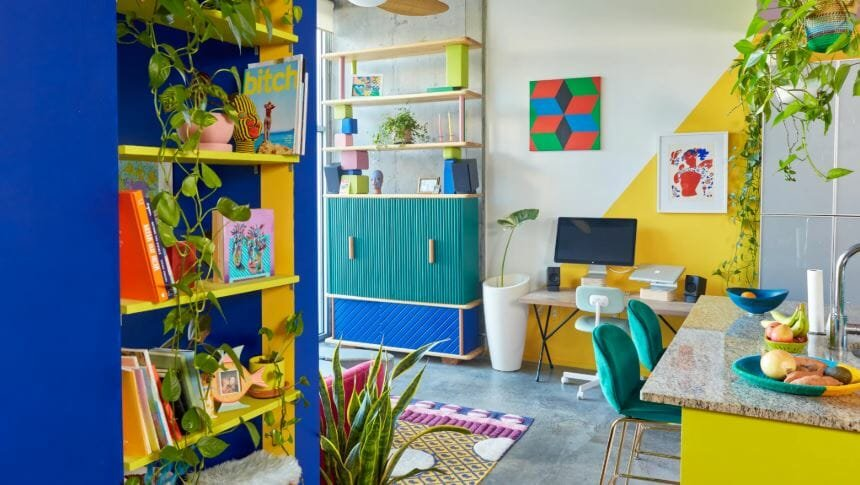Colorful small condo interior design
