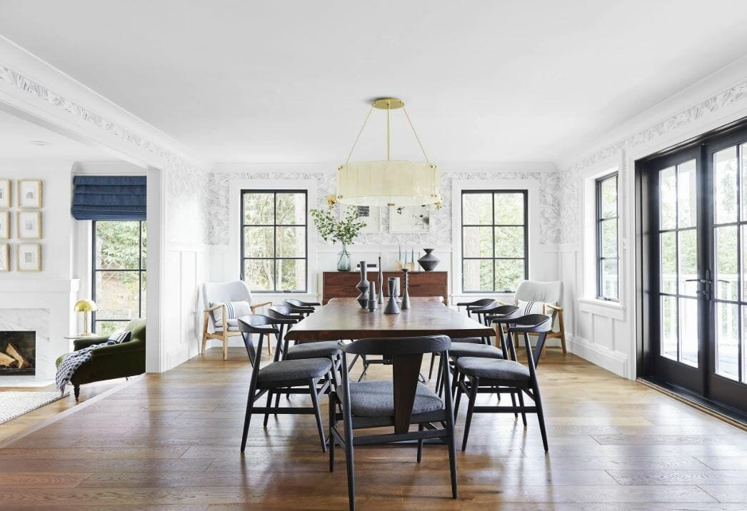 Contemporary Scandi dining room beautifully styled by Emily Henderson
