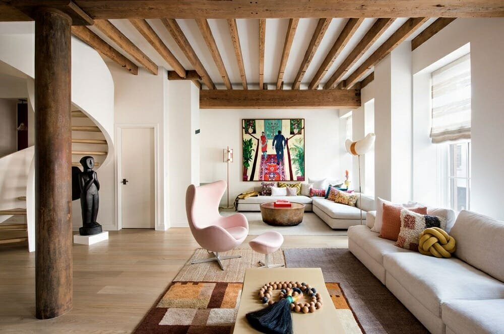 Eclectic interior by one of the top residential interior design firms Champalimaud Design
