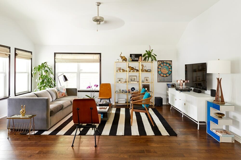 Eclectic lounge by J Fisher interior designers in Austin Texas