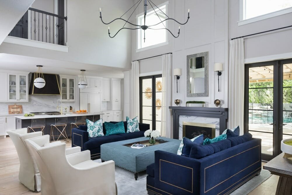 Glamorous blue living room by Gingerwood interior designers in Austin Texas