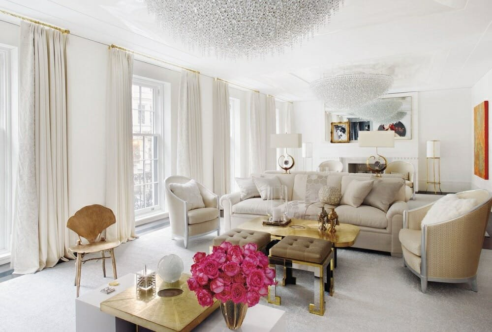Glamorous living interior design style by Aman & Meeks