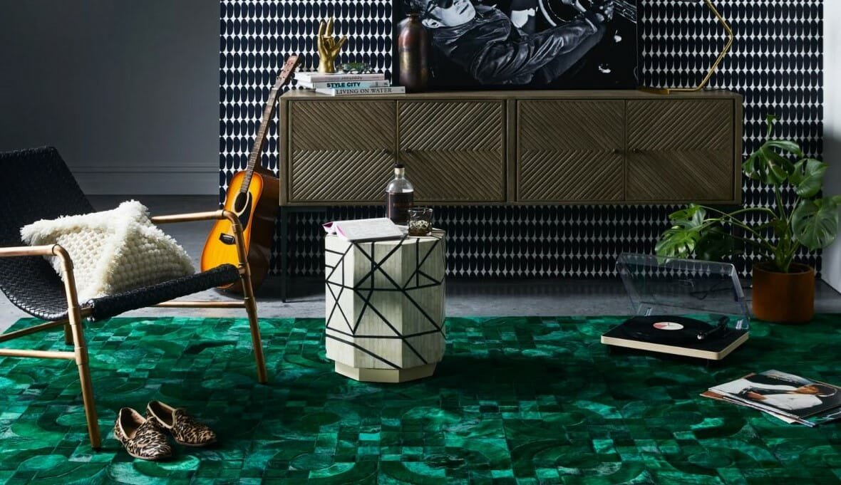 Green masculine room styled by interior design stylist Julia Green