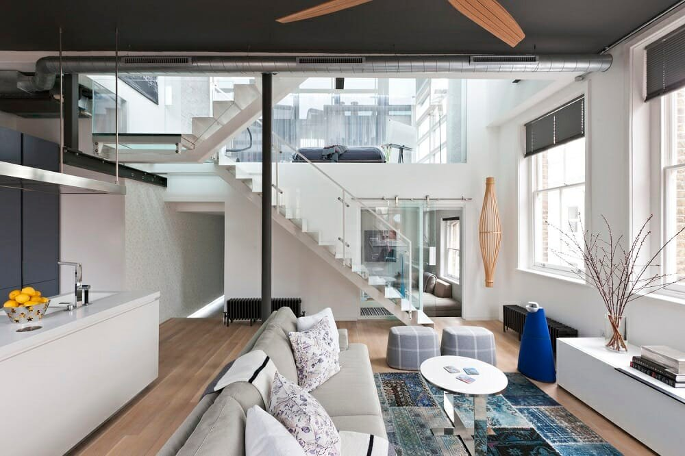 Grey and blue apartment decor ideas for a loft by Mauriio