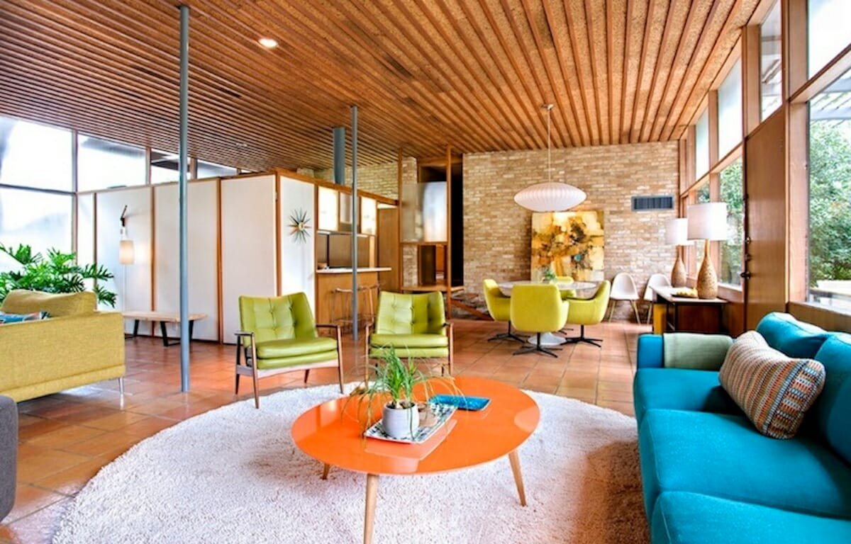 Home with bold colored mid century interior design