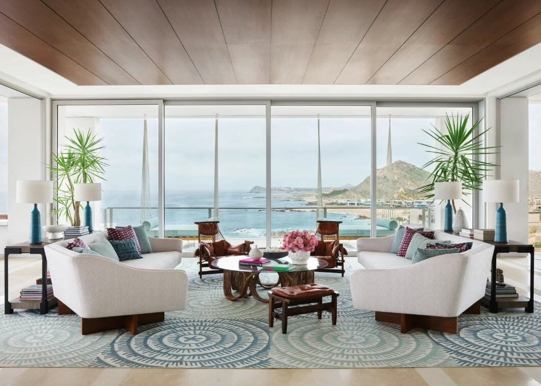 House interior design of a breathtaking lounge with a sea view