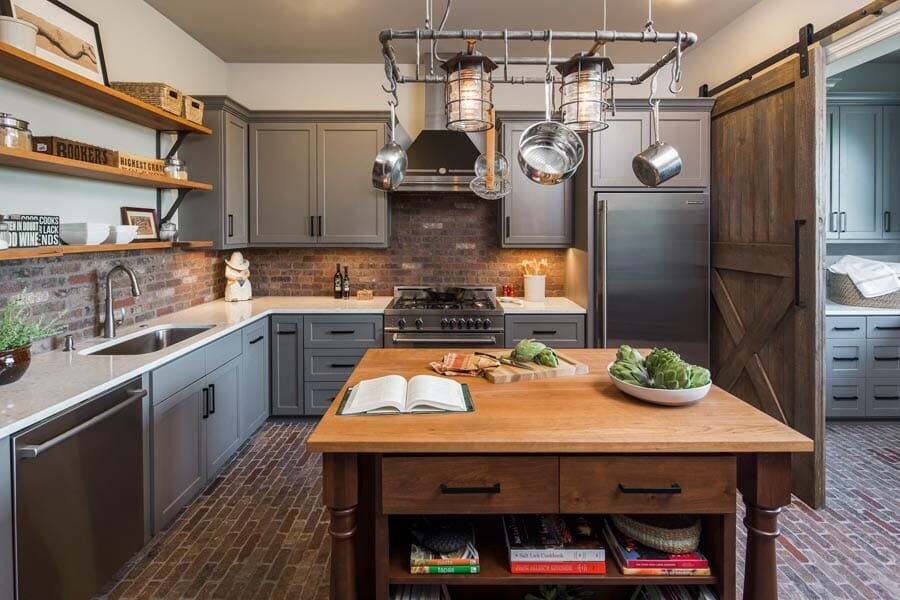 Industrial style kitchen by Dawn Hearn one of Austin interior designers and decorators