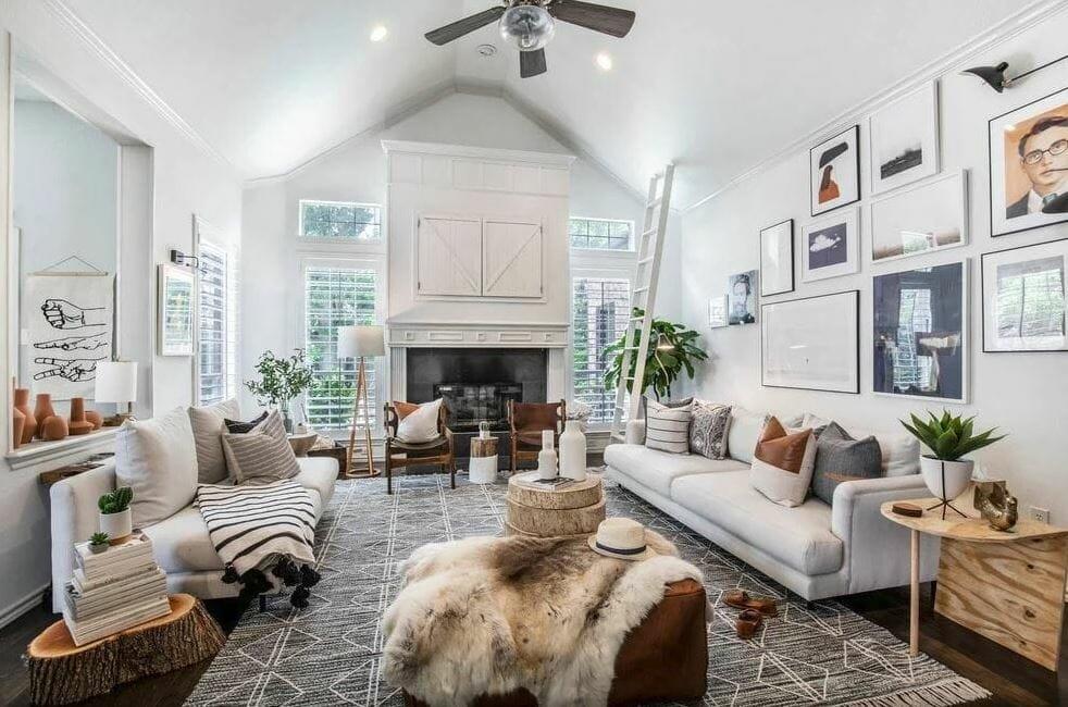Interior design stylist near me can create cozy contemporary farmhouse living rooms