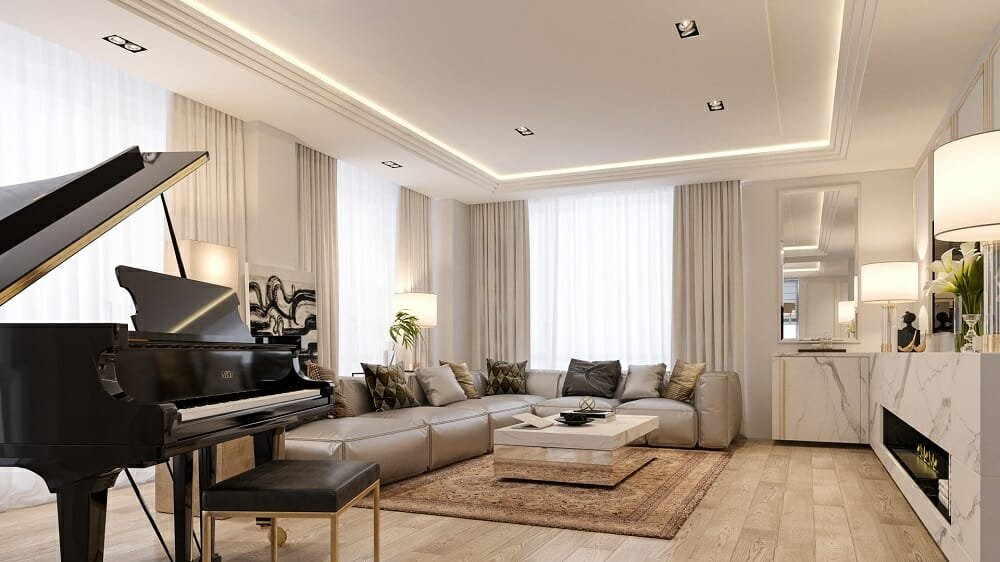 Luxury lounge by Decorilla one of the top residential interior design firms