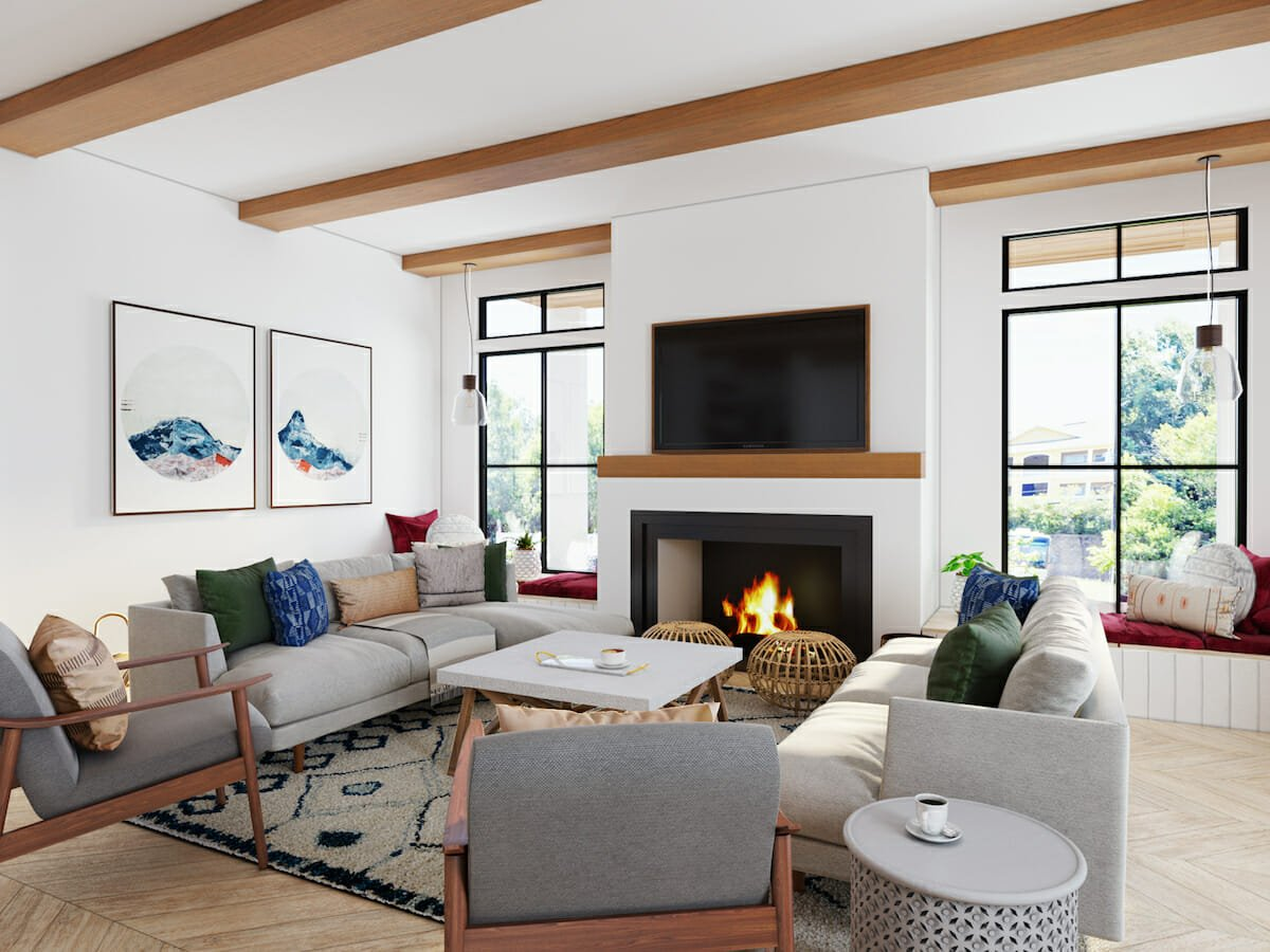 Mid century interior design with fireplace feature