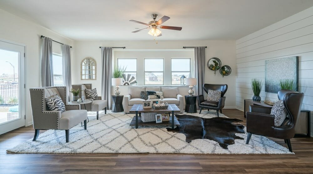 Neutral eclectic living room by Michelle, one of Austin interior designers