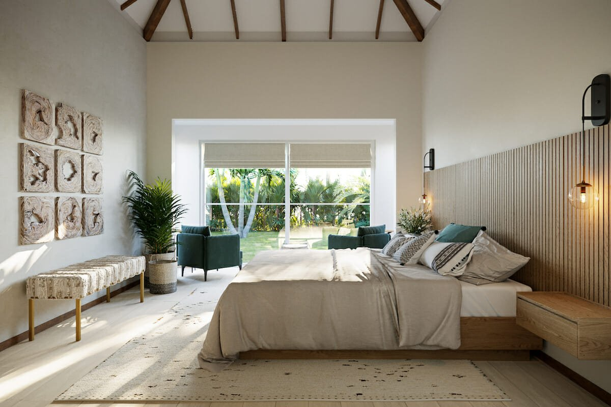 Neutral master bedroom with pops of green by interior stylist and designer Wanda P.
