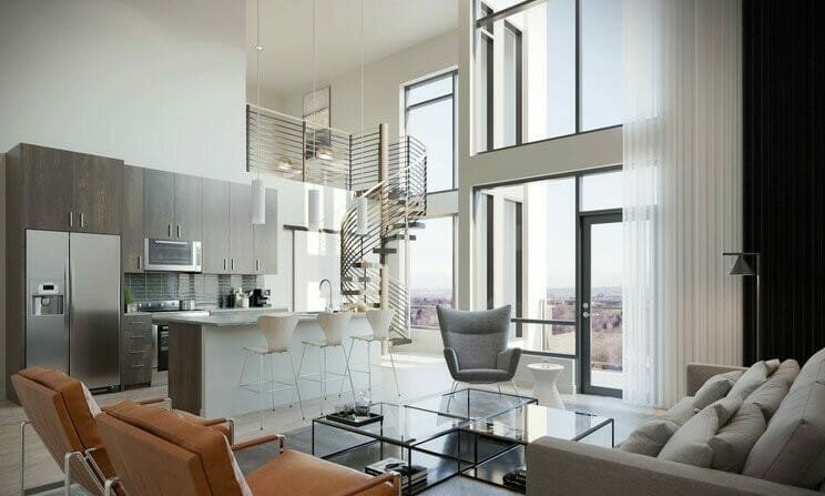 Neutral modern house inside with spiral staircase feature