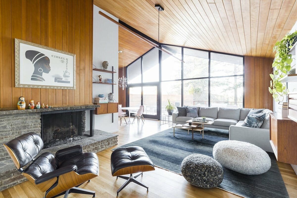 Open home with mid century modern interior design