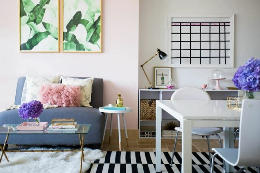 Small condo interior design with blush accents
