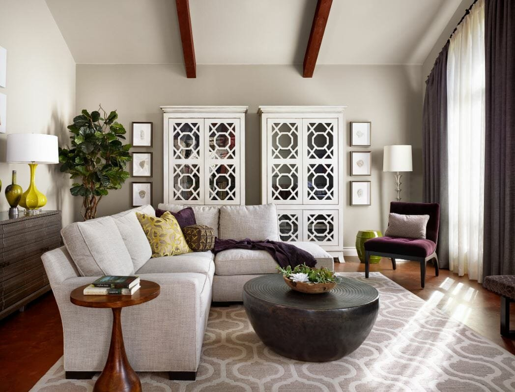 Sophisticated lounge by one of Austin interior decorators Julie Evans