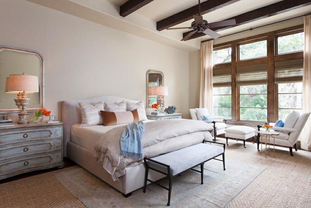 Transitional bedroom by Austin interior designers Heather Scott Home