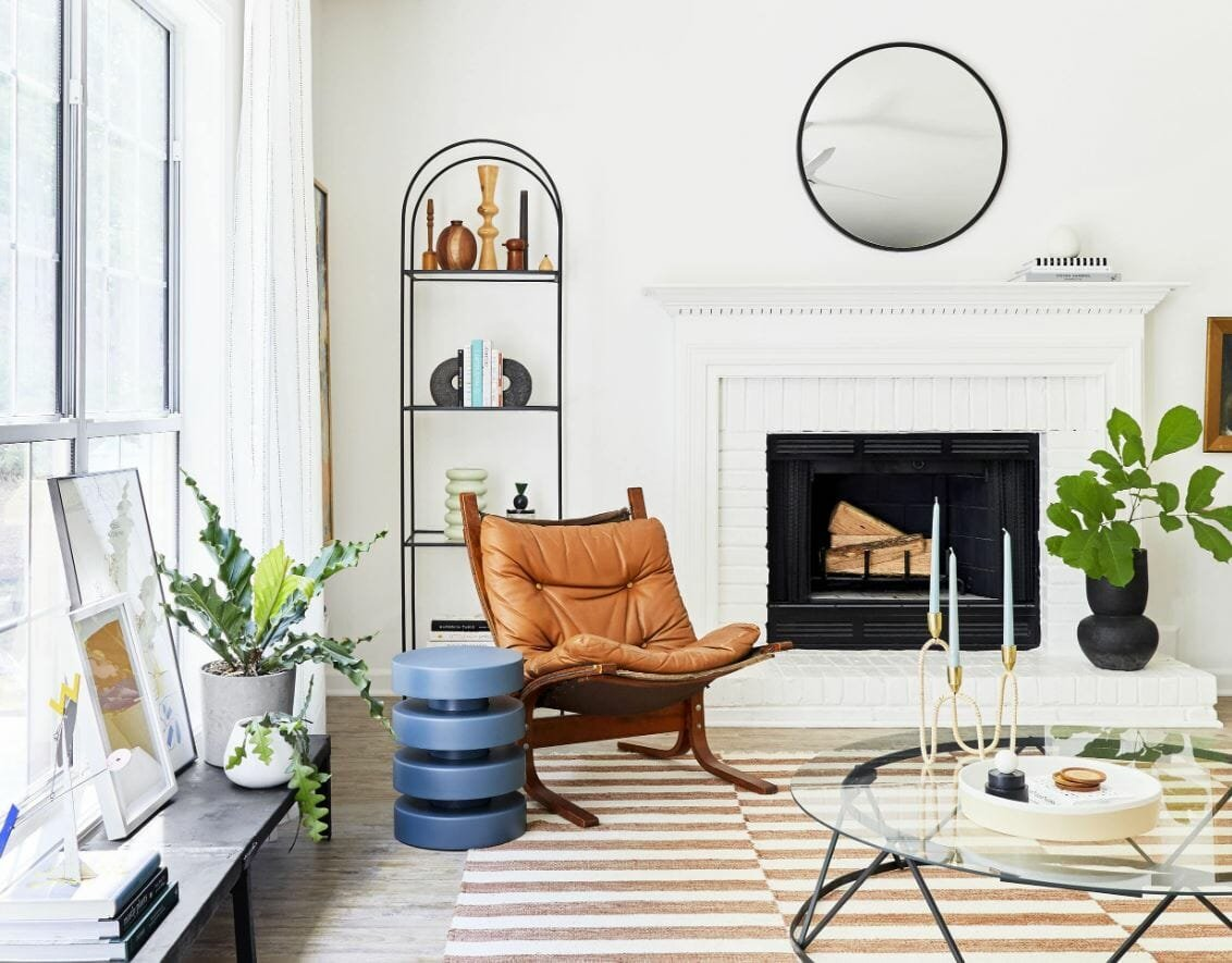 Transitional living room by Emily Henderson an interior stylist near me