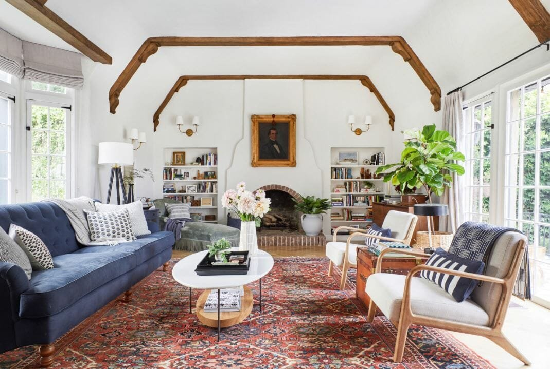 Transitional living room by interior design stylist Emily Henderson