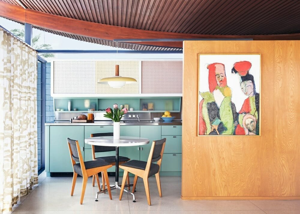 small mid-century modern home interior design kitchen and dining area