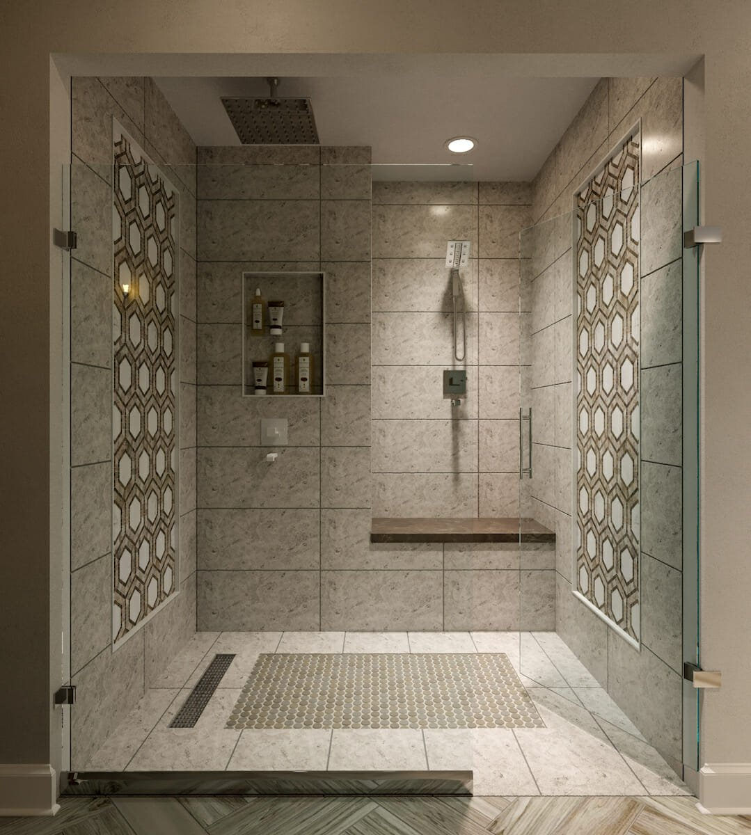 Accent wall shower tile ideas