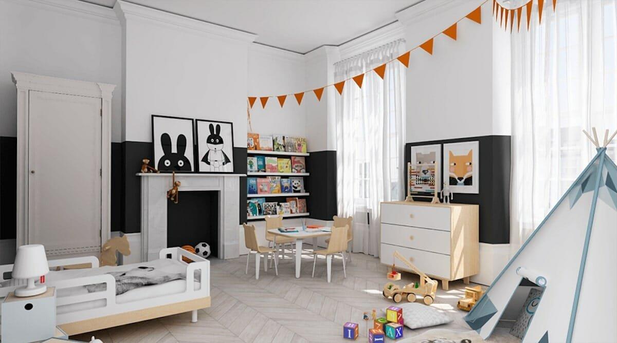 Black and White Kids Room Interior design