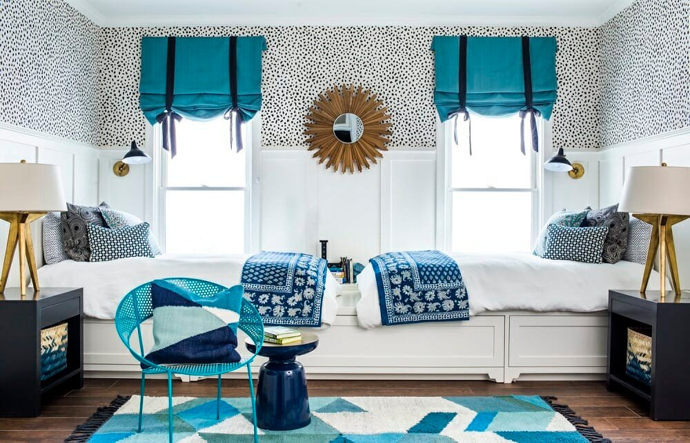 Blue and polka dot kids room by one of the top interior designers Atlanta, Georgia