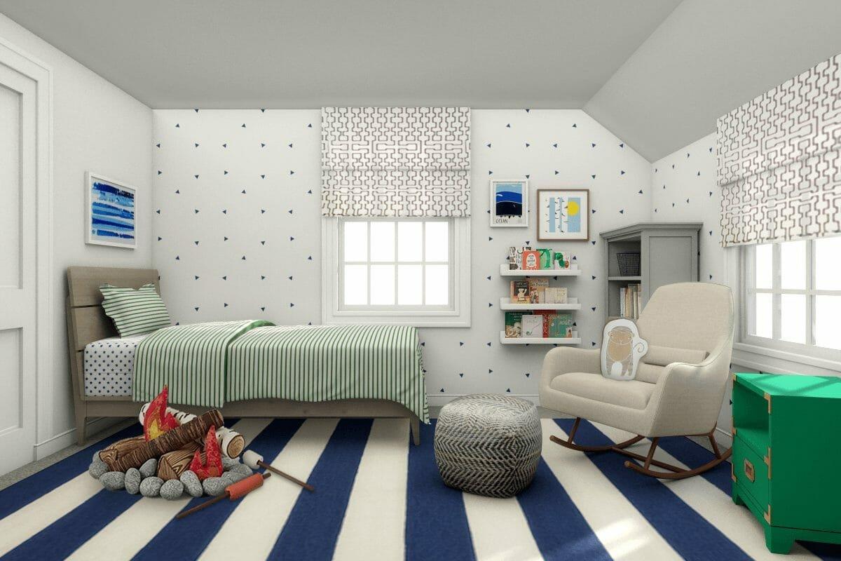 Blue and white kids room interior design