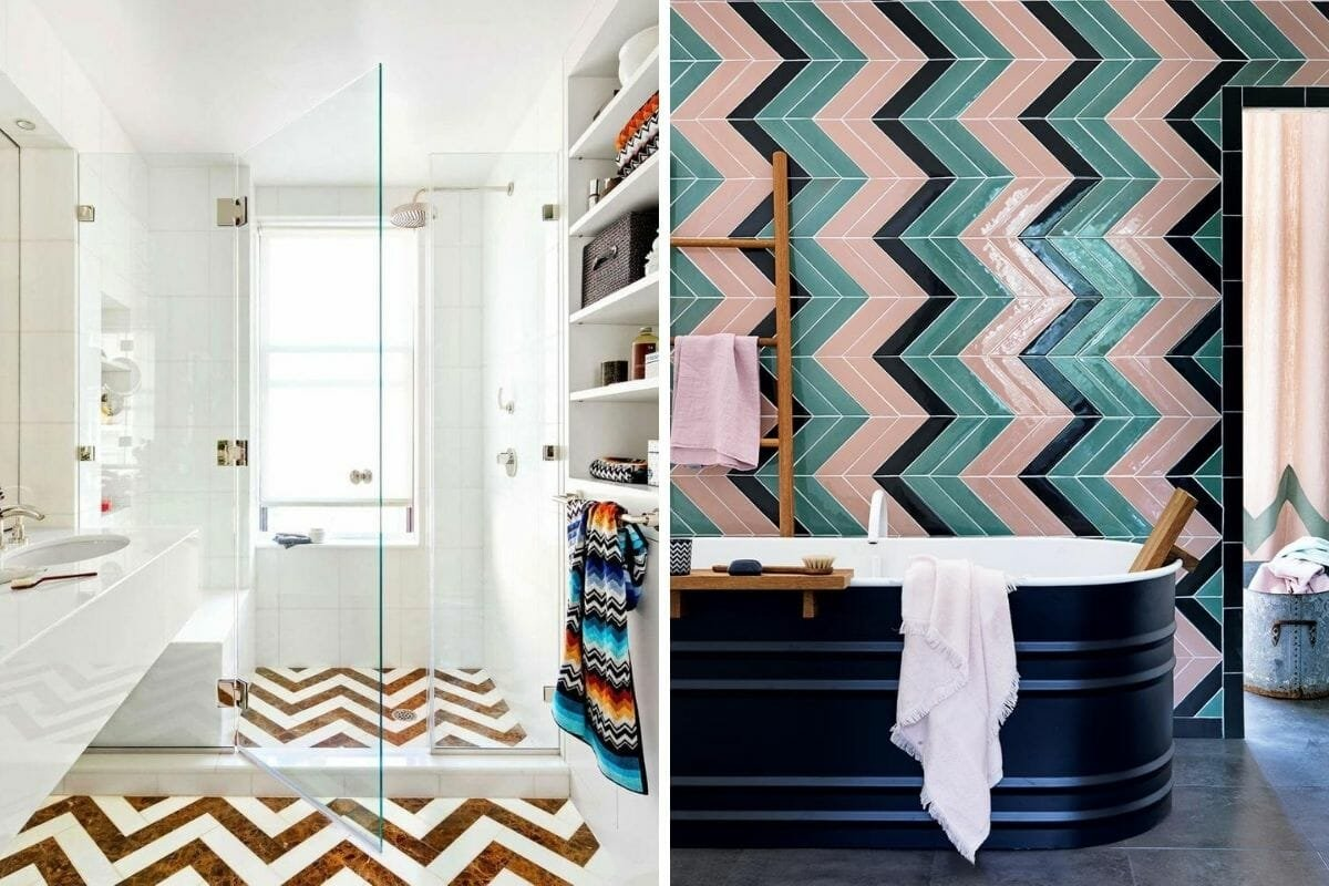 Chevron small bathroom tile ideas