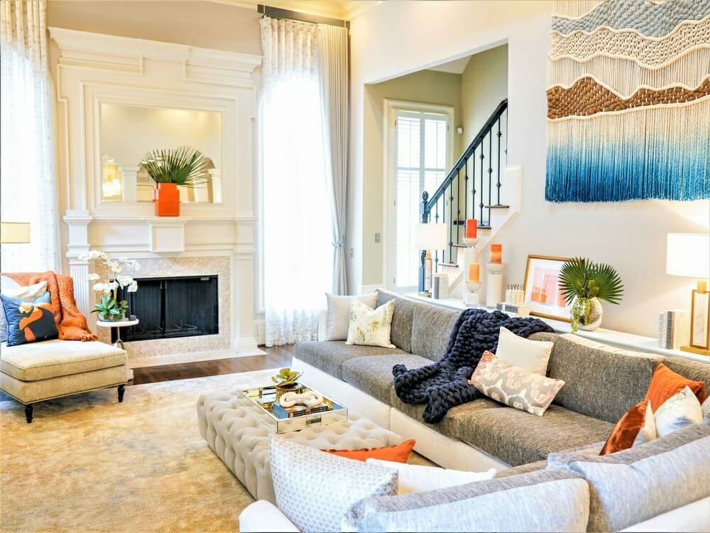 Colorful living room design with a youtful twist available if you hire an interior designer in Atlanta