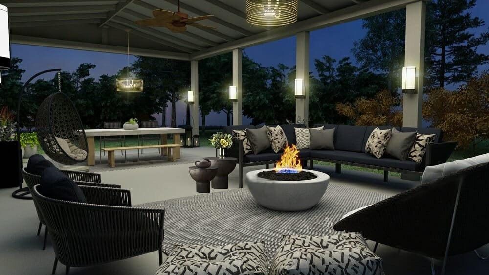 Contemporary and classic online patio design with a dining area and lounge with fireplace by Liana S