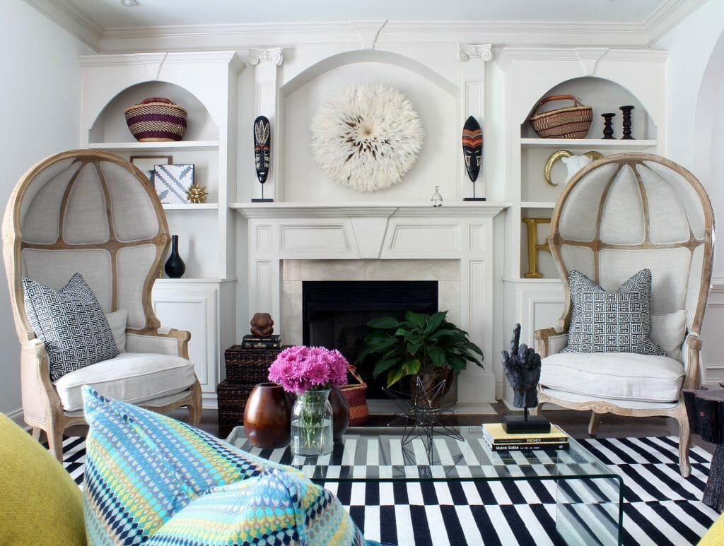 Eclectic living room by one of the top Atlanta interior decorators