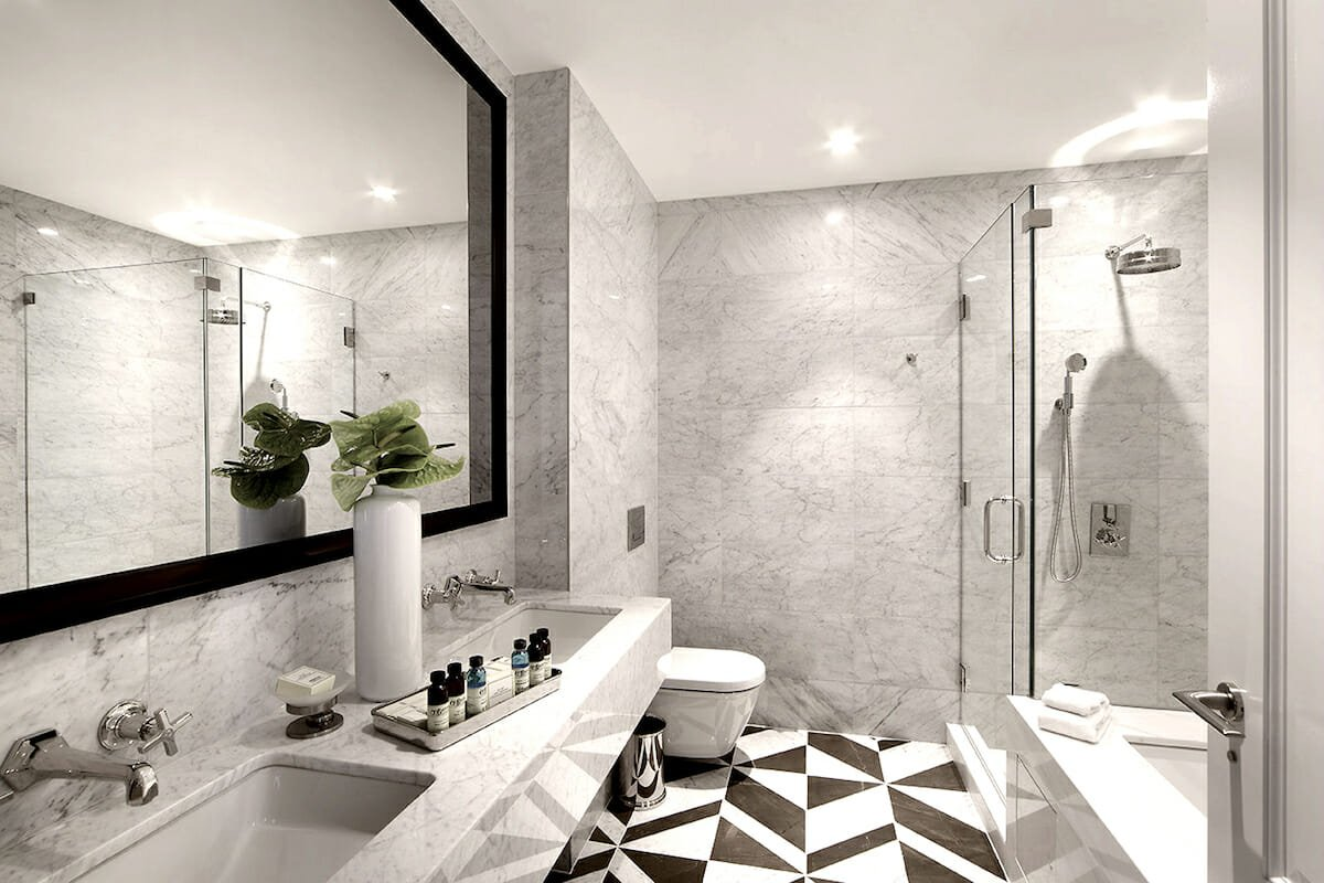 Feature floor small bathroom tiles ideas