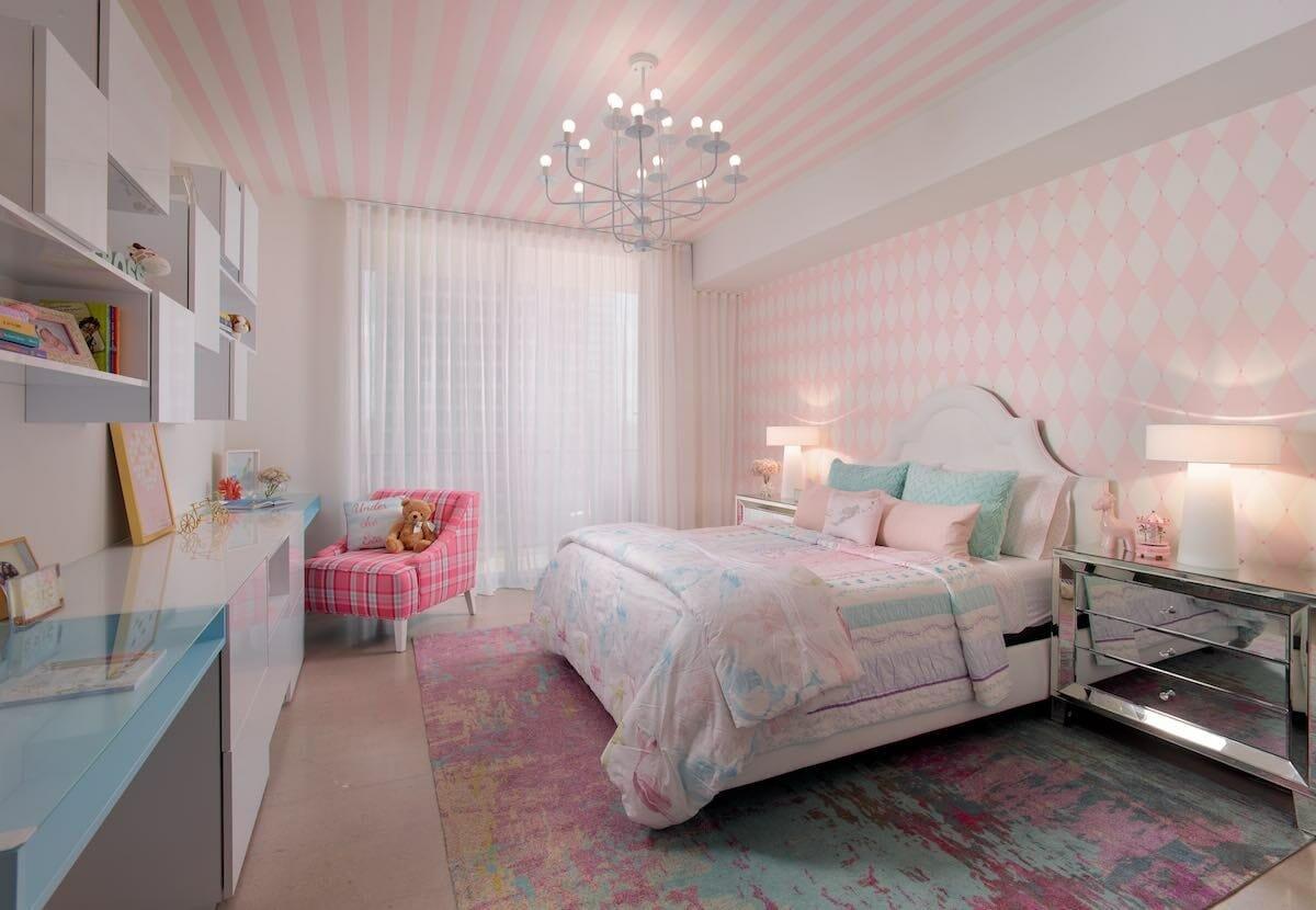 Funky pink girls room interior design by Stella P