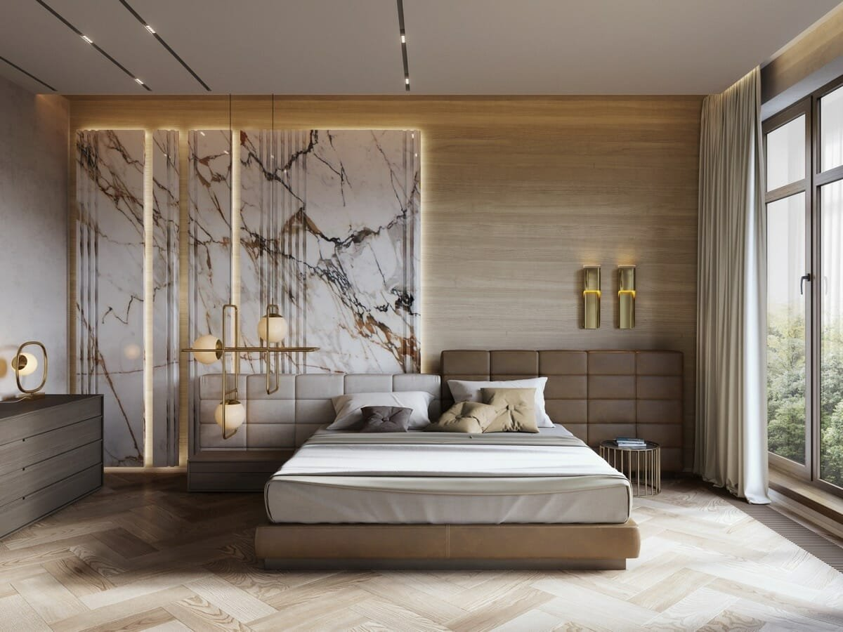 High end bedroom interior design featuring wood marble and leather